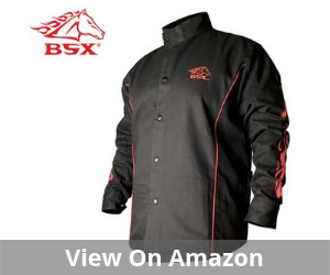 BSX BX9C Black W/Red Flames Cotton Welding Jacket
