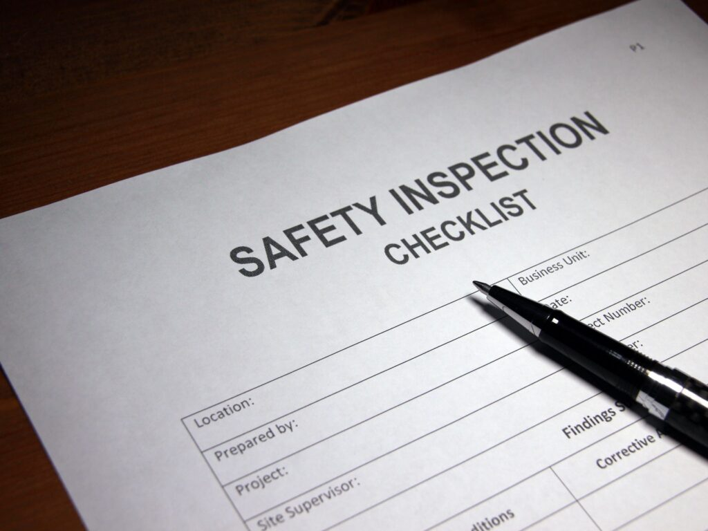 Picture of a safety checklist,